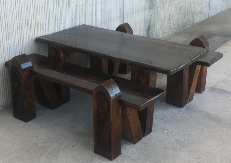 Superb Carved Pine Coffee Or Picnic Table With Two Benches Depicting A Verge With Child Pabps2019 Chair Design Images Pabps2019Com