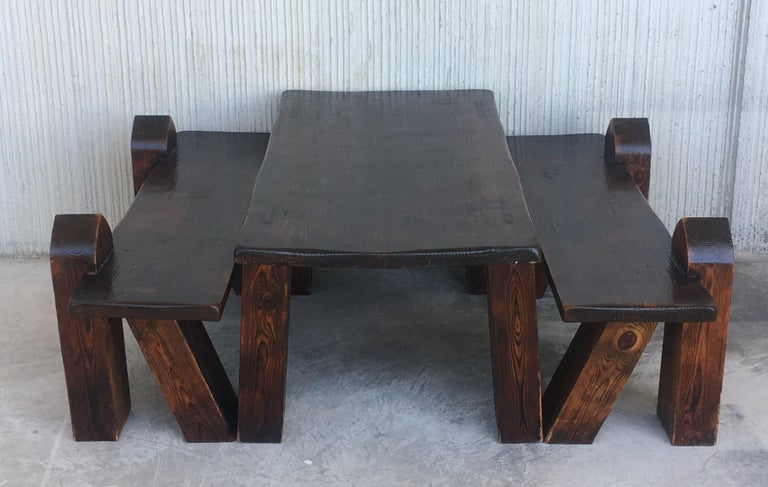 Carved Pine Coffee Or Picnic Table With Two Benches