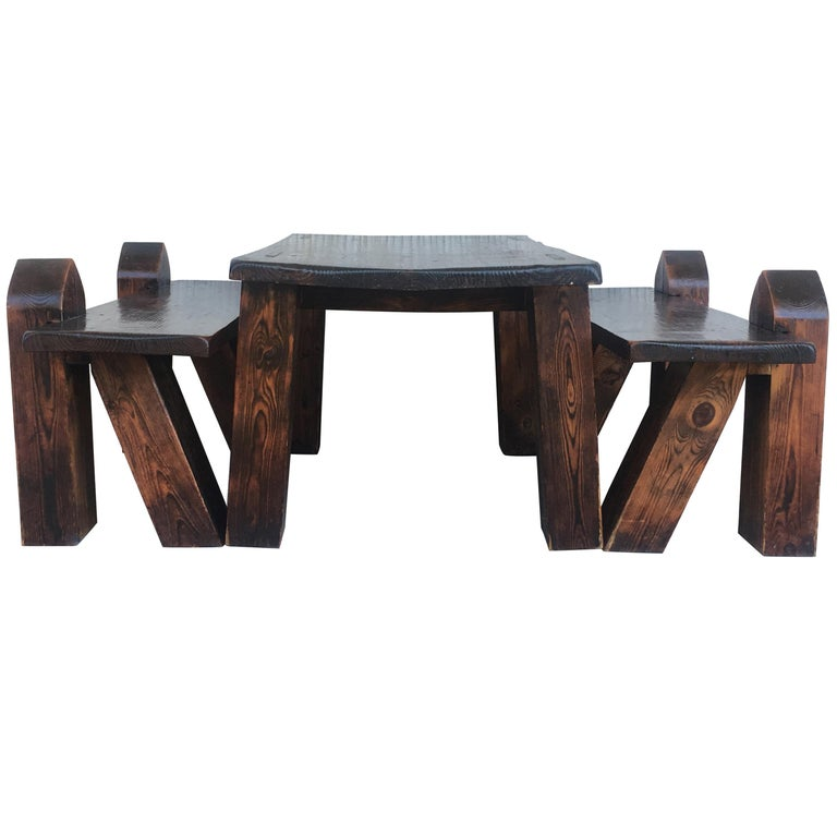 Remarkable Carved Pine Coffee Or Picnic Table With Two Benches Depicting A Verge With Child Pabps2019 Chair Design Images Pabps2019Com