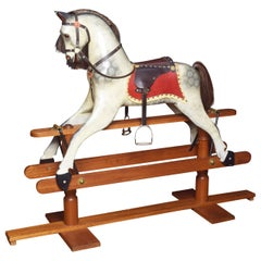 Carved Pine Rocking Horse