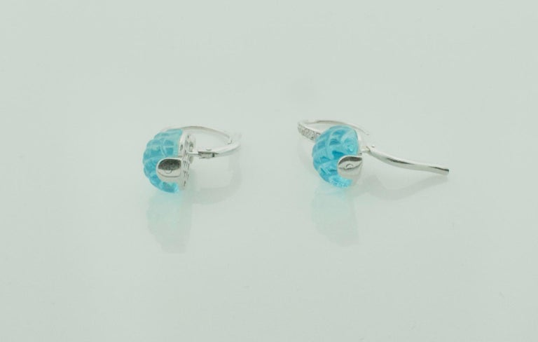 Round Cut Carved Pineapple Blue Topaz and Diamond Earrings in 18 Karat What Gold For Sale