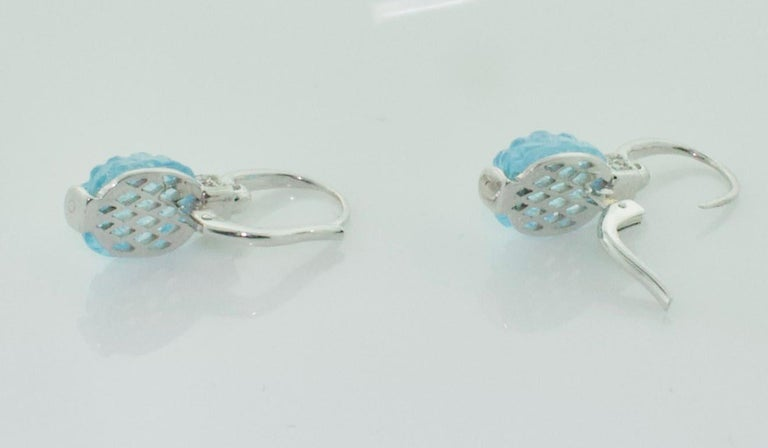 Women's or Men's Carved Pineapple Blue Topaz and Diamond Earrings in 18 Karat What Gold For Sale