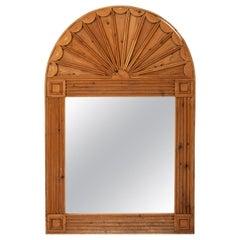 Carved Pinewood Fanlight Mirror