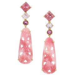 Joon Han Carved Pink Opal Sapphire Tourmaline 18 Karat Gold Drop Dangle Earrings