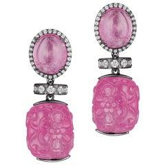 Goshwara Carved Pink Tourmaline And Diamond Earrings