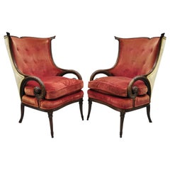 Carved Plume Spiral Armchairs Wingback Chairs Attributed to Grosfeld House, Pair