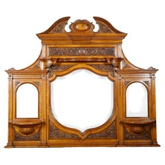 Carved Pollard Oak Overmantel Mirror