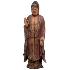Carved Polychrome Standing Buddha Figure