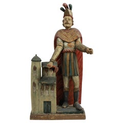 Carved & Polychrome Statue of Saint Florian