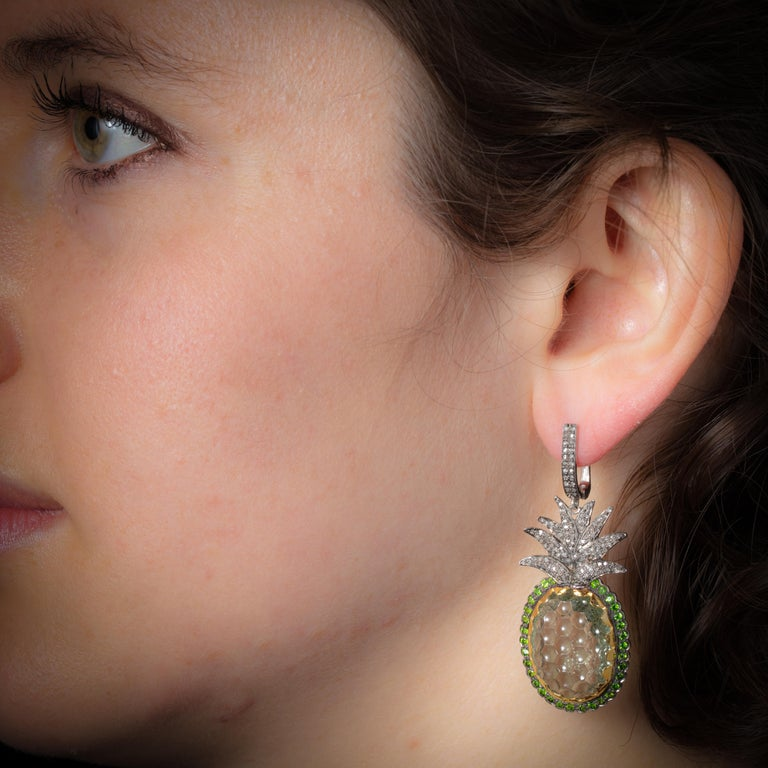 Carved Prasiolite 'Green Amethyst' Peridot and Diamond Pineapple Dangle Earrings In Excellent Condition For Sale In Nantucket, MA