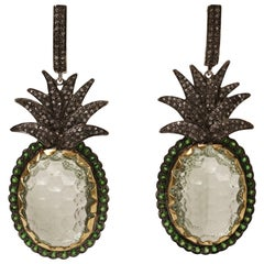 Carved Prasiolite 'Green Amethyst' Peridot and Diamond Pineapple Dangle Earrings