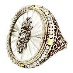 Vintage 1930s Carved Quartz, Pearl and Diamond 14 KT White and Yellow Gold Ring