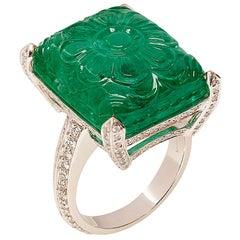 Goshwara Carved Emerald  And Diamond Ring