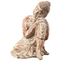 Carved Red Clay Seated Buddha Statues, 20th Century
