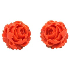 Carved Red Coral Flower Vuntage Earrings in 14 Karat Yellow Gold