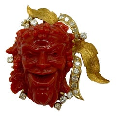 Carved Red Italian Coral and Diamond Bacchus Brooch-Pendant