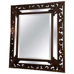 Carved Renaissance Style Dark Oak Framed Mirror 19th Century from Spain