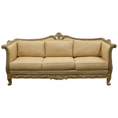 Carved Reproduction Glazed Wood Upholstered Sofa in the Style of Louis XV