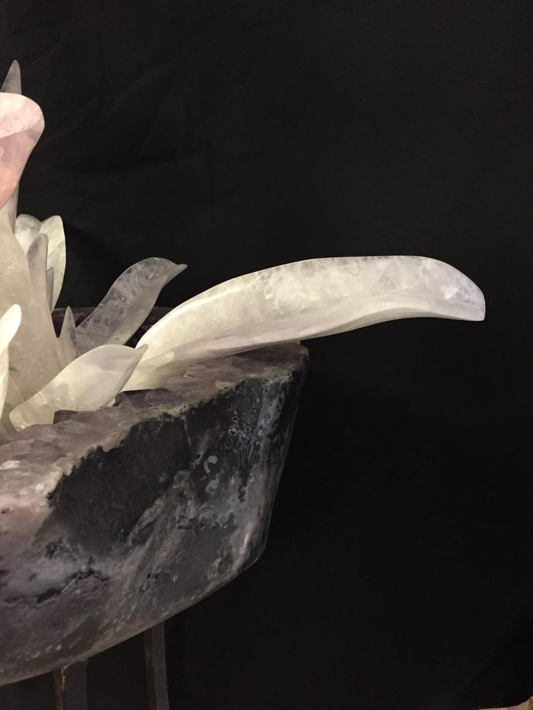 Carved Rock Crystal and Gemstone Fountain For Sale 4