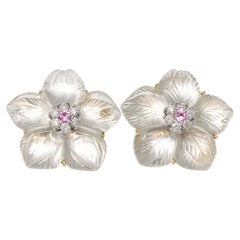 Carved Rock Crystal Clip-On Earrings with Diamonds and Pink Sapphire Accents