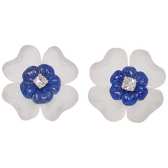 Carved Rock Crystal, Lapis and Diamond Flower Earrings