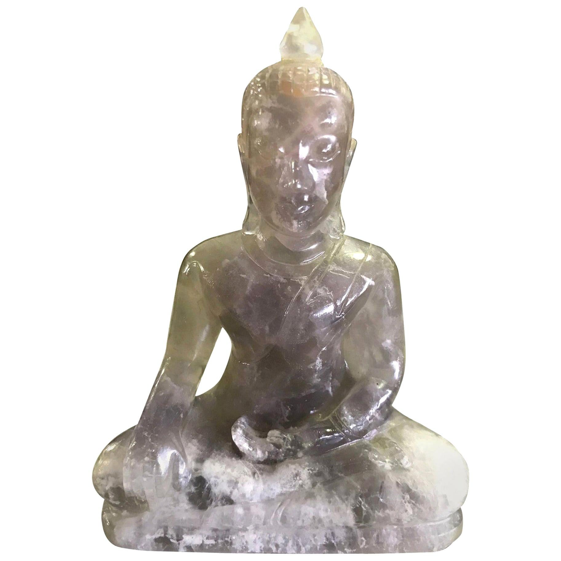 Carved Rock Crystal Seated Buddha Sculpture