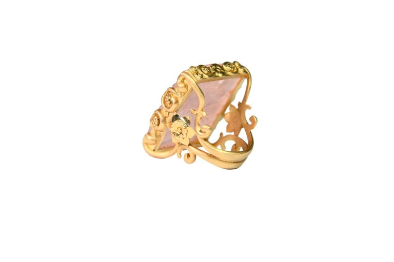 Artist Carved Rose Quartz Stone 18 Karat Gold Cocktail Ring For Sale