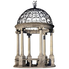 Carved Rotonda or Garden Gloriette in Classical Style with a Wrought Iron Top