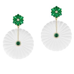Carved Round Emerald and Rock Crystal Earrings with Diamonds