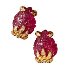 Carved Ruby and Diamond Studs in 18K Yellow Gold