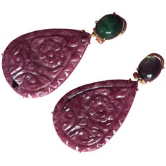 Carved Ruby Drop Cabochon Emerald 18 k solid gold Earrings