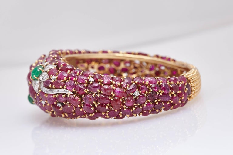 Women's Carved Ruby Emerald and Diamond Cuff Bracelet For Sale