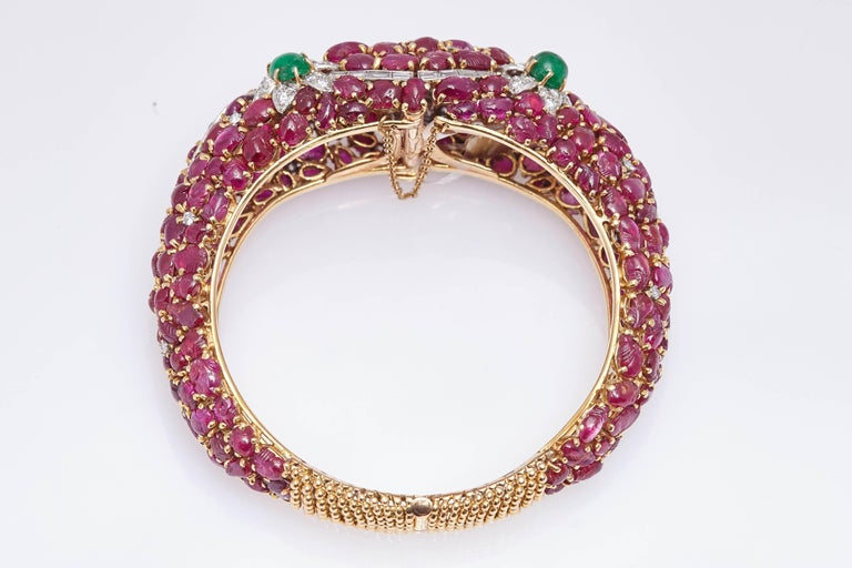 Carved Ruby Emerald and Diamond Cuff Bracelet For Sale 1