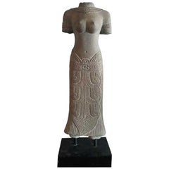 Carved Sandstone Female Sculpture from Thailand