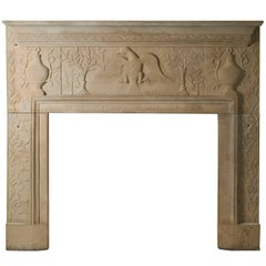 Carved Sandstone Mantel from Ohio, Dated 1827
