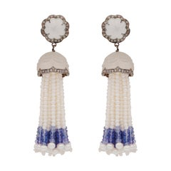 Carved Sapphire, Diamond & Pearl Cocktail Earrings