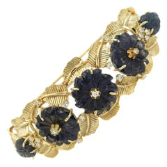 Carved Sapphire Floral Flower Leaf Diamond Yellow Gold Bangle Bracelet