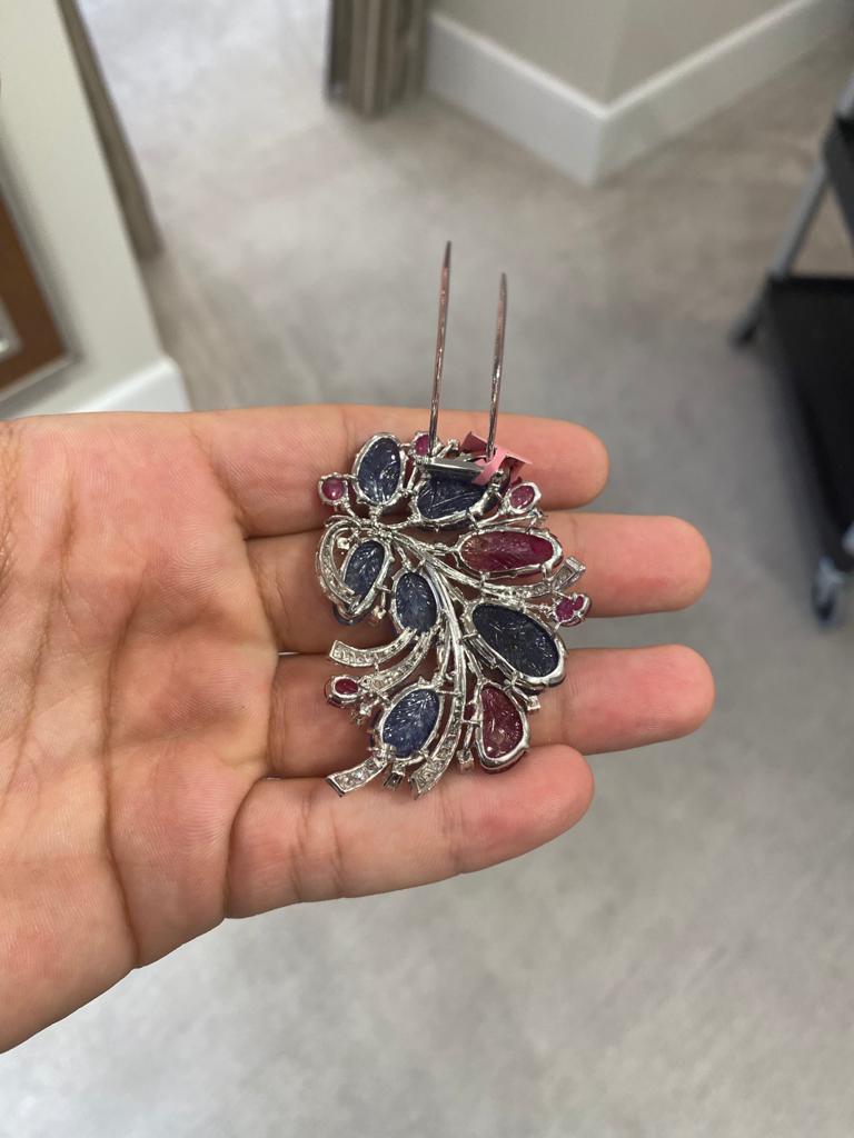 Women's or Men's Carved Sapphire Ruby Diamond Flower Brooch For Sale