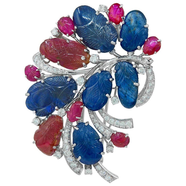 Carved Sapphire Ruby Diamond Flower Brooch For Sale