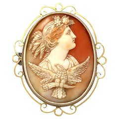 Carved Shell and 15 Karat Yellow Gold Cameo Brooch, Antique, circa 1880