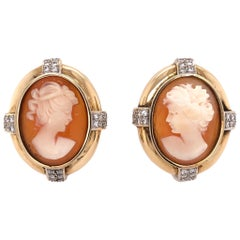 Carved Shell Cameo and Diamond French Clip and Post Yellow Gold Earrings