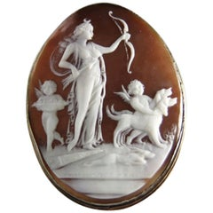 Carved Shell Cameo Diana The Huntress and Cherubs S/S Brooch Estate Fine Jewelry