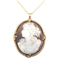 Carved Shell Cameo Pendant with Frame in 18 Karat Yellow Gold