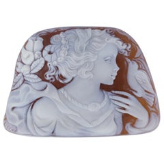 Carved Shell Cameo Signed Portrait of a Classical Beauty Estate Fine Jewelry