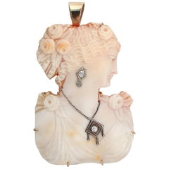Carved Shell Cameo Woman Bust Silhouette Diamond Accents 14 Karat Gold Pendant