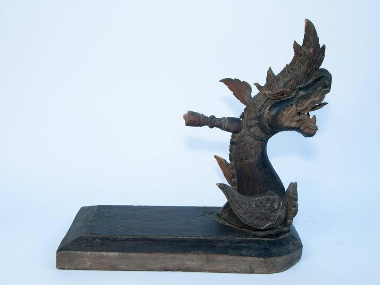 Laotian Carved Silk Winding Tool from Laos, Naga Motif, Early-20th Century For Sale