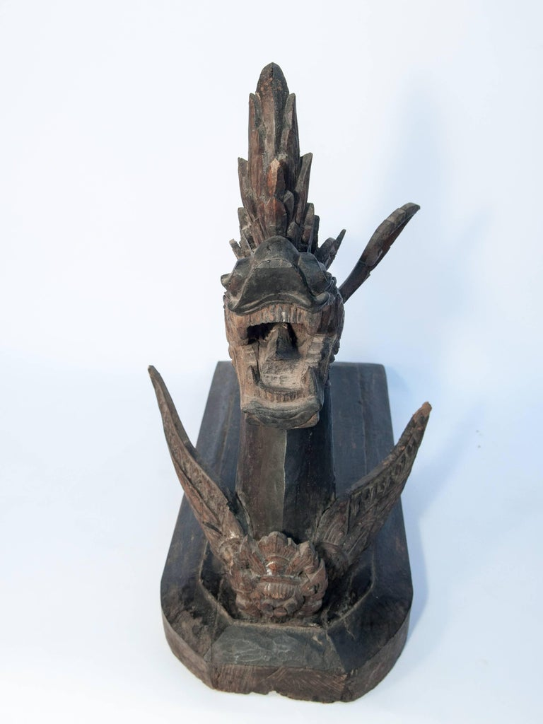 Carved Silk Winding Tool from Laos, Naga Motif, Early-20th Century For Sale 1