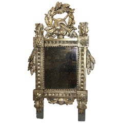 Carved Silver, Gilt Louis XVI French Provincial Mirror