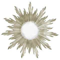 Carved Silver Gilt Sunburst Mirror