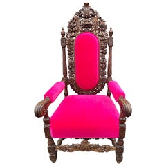 Carved Solid Oak Antique French Armchair with Pink Velvet